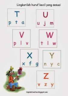 belajar mencocokkan huruf besar dan huruf kecil untuk anak TK/balita