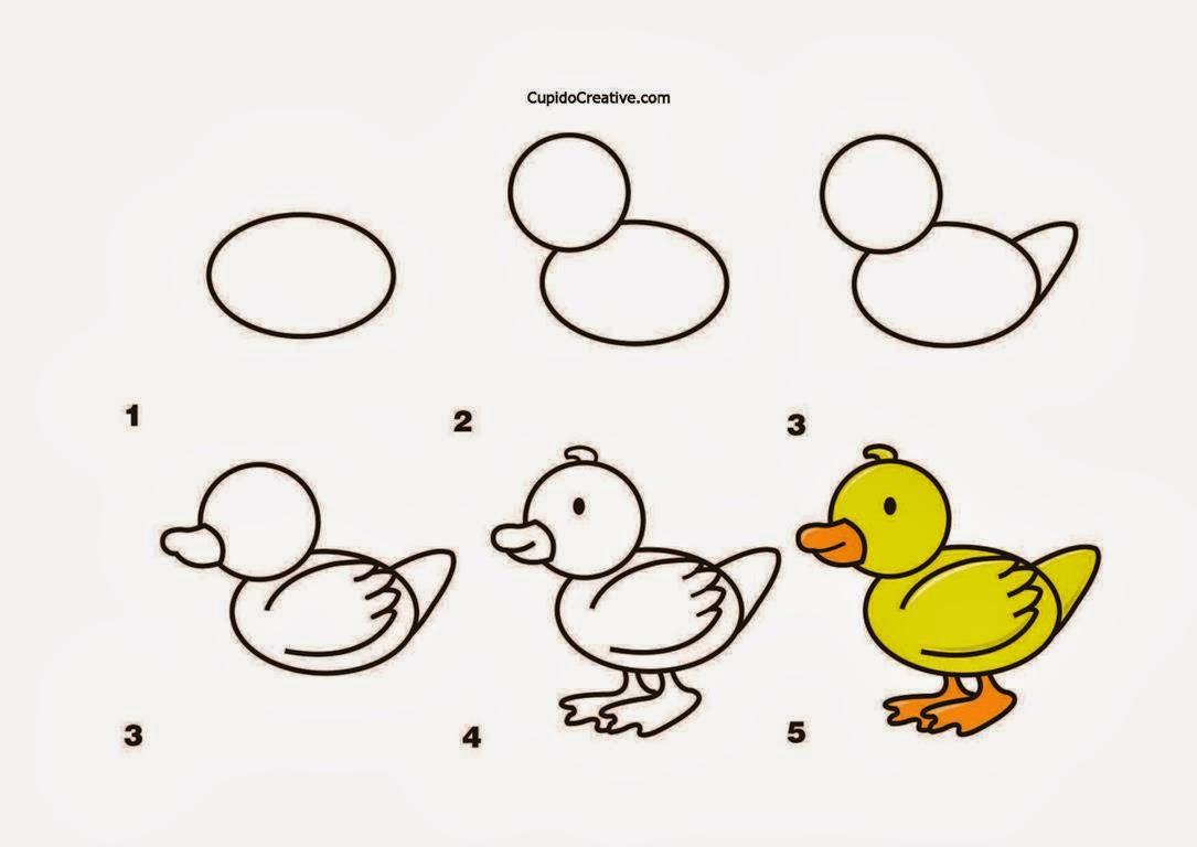 kerajinan anak TK SD langkah cara menggambar bebek & mewarnai