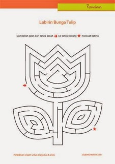 permainan anak untuk PAUD (balita/TK), gambar labirin/maze : bunga tulip